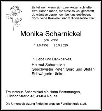 Traueranzeige von Monika Scharnickel von Rheinische Post
