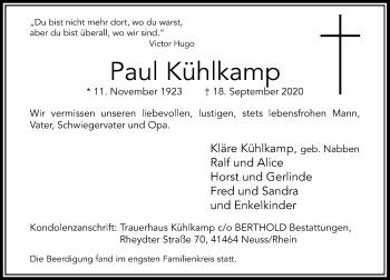 Traueranzeige von Paul Kühlkamp von Rheinische Post