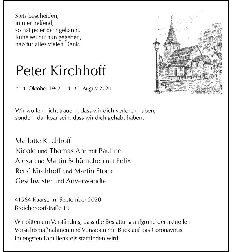 Traueranzeige für Peter Kirchhoff vom 19.09.2020 aus Rheinische Post