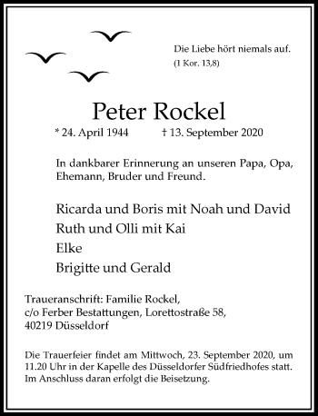 Traueranzeige von Peter Rockel von Rheinische Post