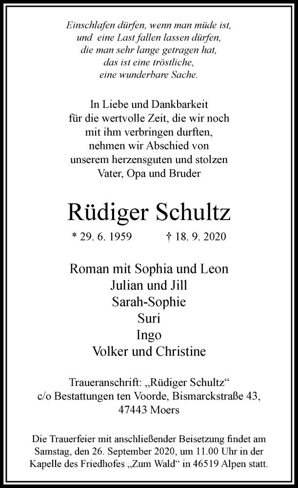 Traueranzeige für Rüdiger Schultz vom 23.09.2020 aus Rheinische Post