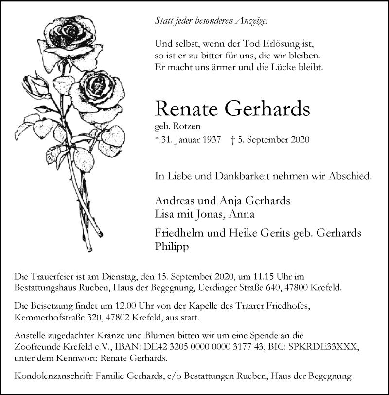 Traueranzeige für Renate Gerhards vom 12.09.2020 aus Rheinische Post