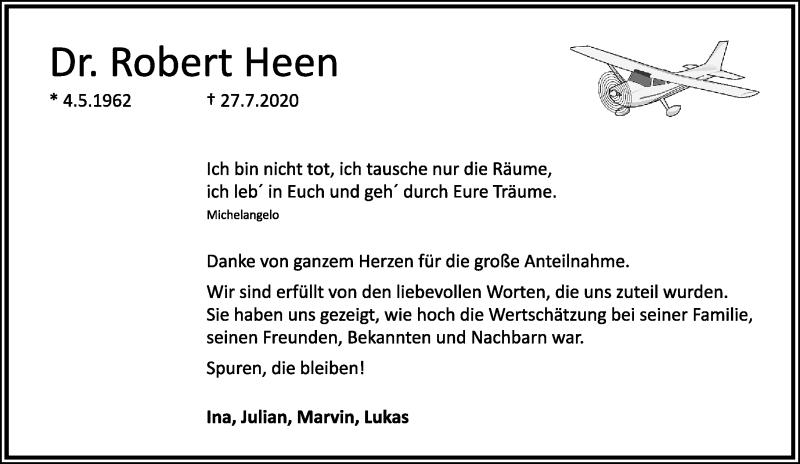 Traueranzeige für Robert Heen vom 12.09.2020 aus Rheinische Post
