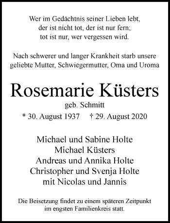 Traueranzeige von Rosemarie Küsters von Rheinische Post