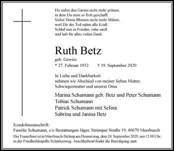 Traueranzeige von Ruth Betz von Rheinische Post