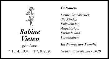 Traueranzeige von Sabine Vieten von Rheinische Post
