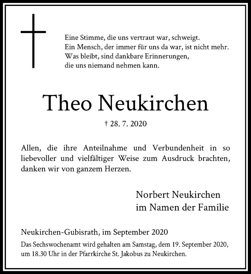 Traueranzeige für Theo Neukirchen vom 16.09.2020 aus Rheinische Post