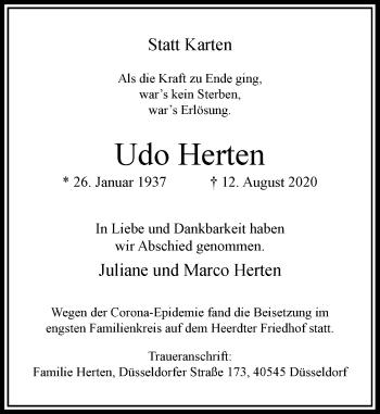 Traueranzeige von Udo Herten von Rheinische Post
