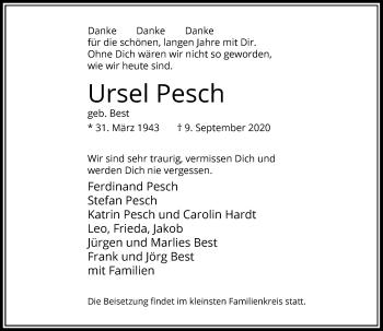 Traueranzeige von Ursel Pesch von Rheinische Post
