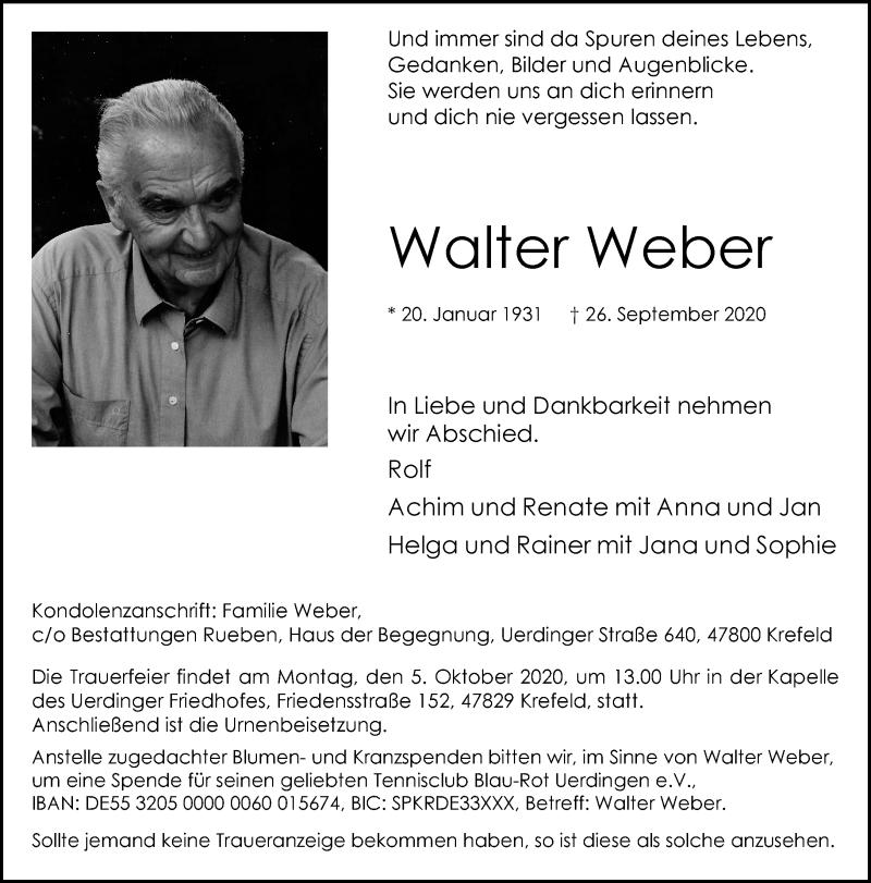 Traueranzeige für Walter Weber vom 30.09.2020 aus Rheinische Post