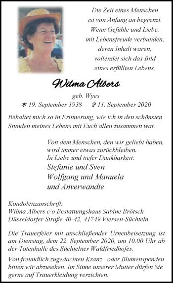 Traueranzeige von Wilma Albers von Rheinische Post