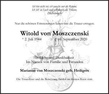 Traueranzeige von Witold von Moszczenski von Rheinische Post