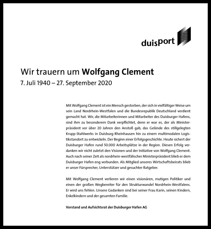 Traueranzeige für Wolfgang Clement vom 30.09.2020 aus Rheinische Post
