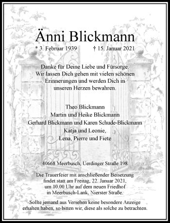 Traueranzeige von Änni Blickmann von Rheinische Post