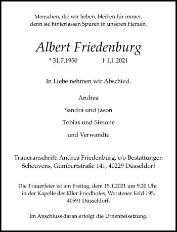 Traueranzeige von Albert Friedenburg von Rheinische Post