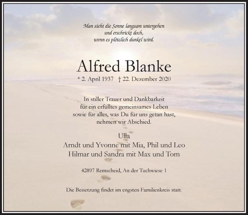 Traueranzeige für Alfred Blanke vom 05.01.2021 aus Rheinische Post