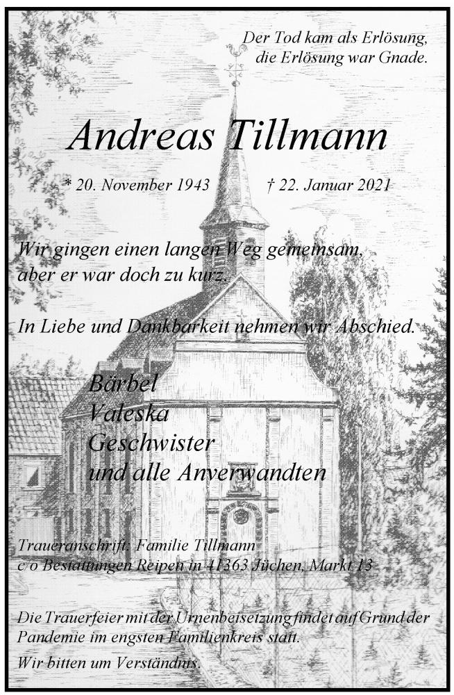 Traueranzeige für Andreas Tillmann vom 30.01.2021 aus Rheinische Post