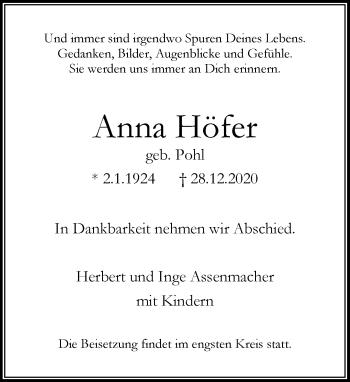 Traueranzeige von Anna Höfer von Rheinische Post
