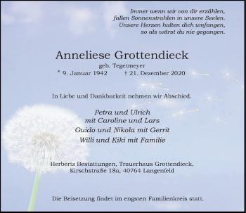 Traueranzeige von Anneliese Grottendieck von Rheinische Post