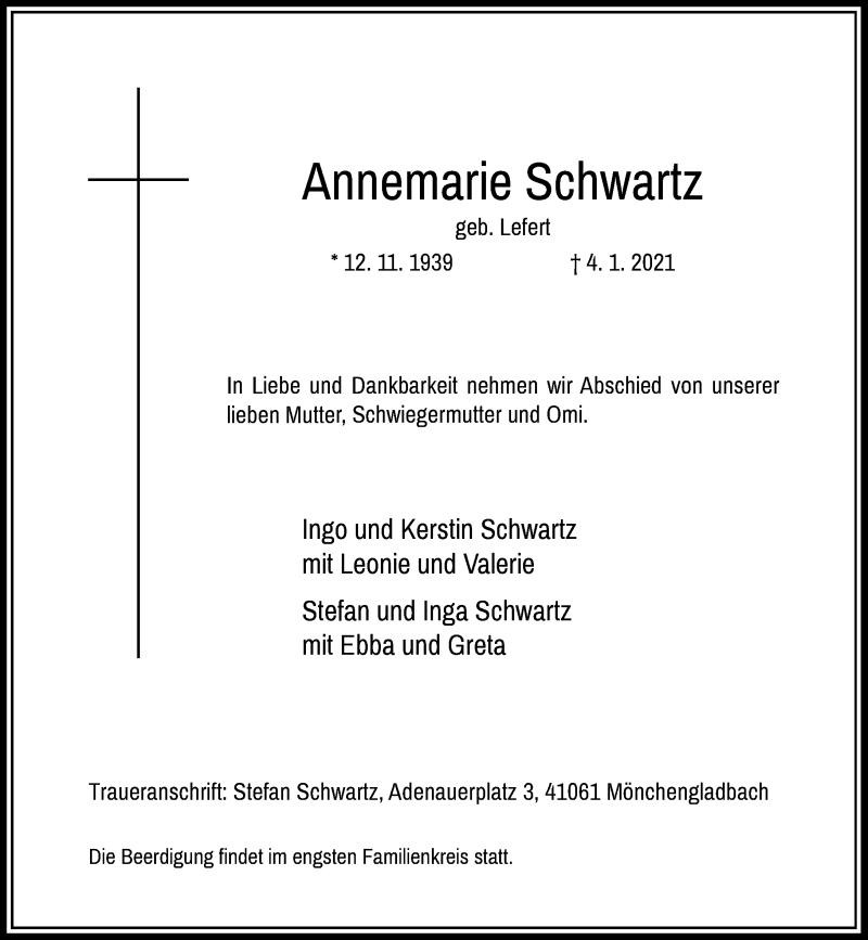 Traueranzeige für Annemarie Schwartz vom 09.01.2021 aus Rheinische Post