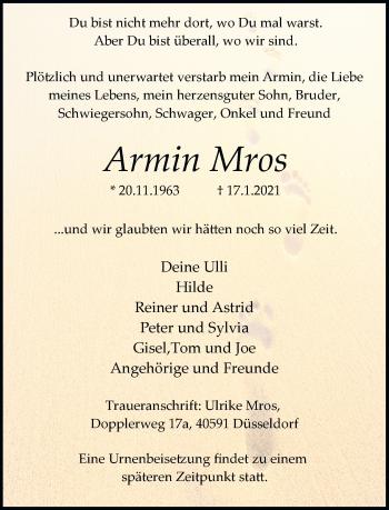 Traueranzeige von Armin Mros von Rheinische Post
