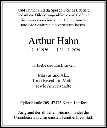 Traueranzeige von Arthur Hahn von Rheinische Post