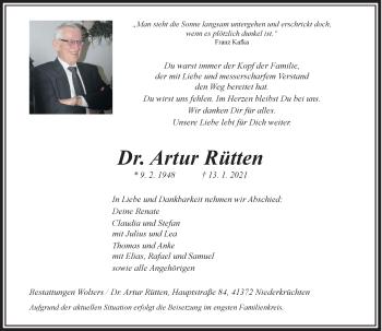 Traueranzeige von Artur Rütten von Rheinische Post