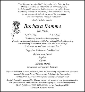 Traueranzeige von Barbara Bamme von Rheinische Post