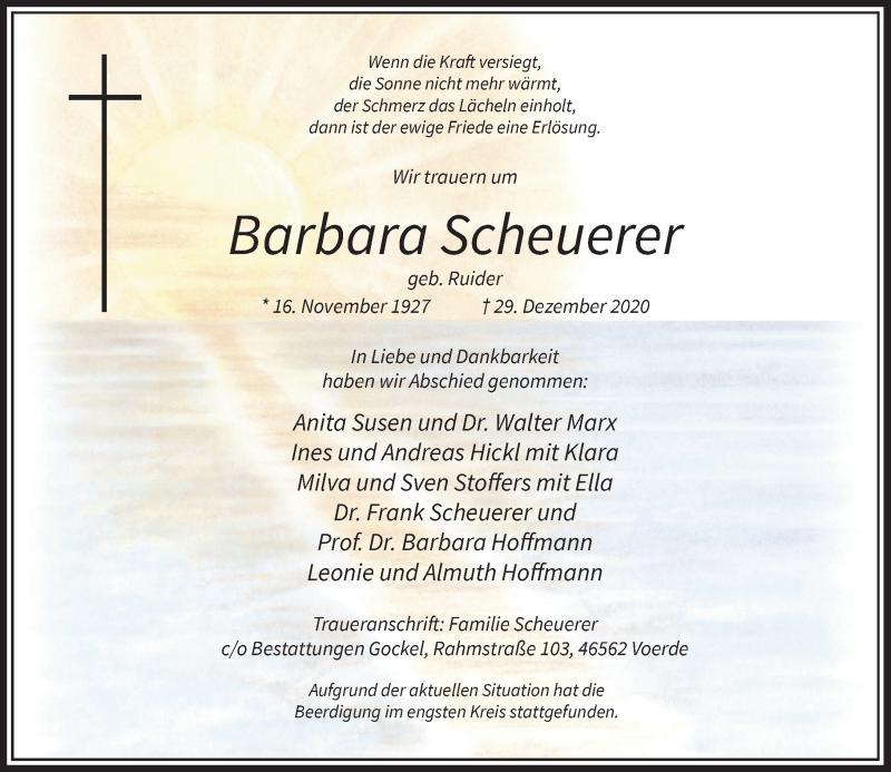 Traueranzeige für Barbara Scheuerer vom 30.01.2021 aus Rheinische Post