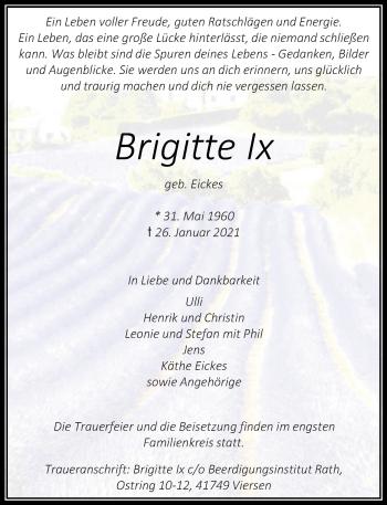 Traueranzeige von Brigitte Ix von Rheinische Post