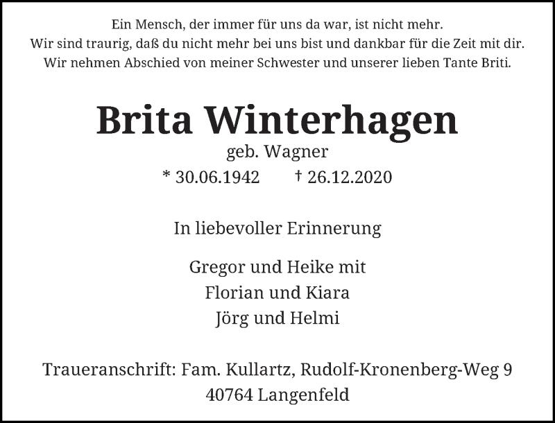 Traueranzeige für Brita Winterhagen vom 29.01.2021 aus Rheinische Post
