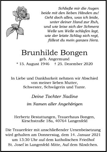 Traueranzeige von Brunhilde Bongen von Rheinische Post