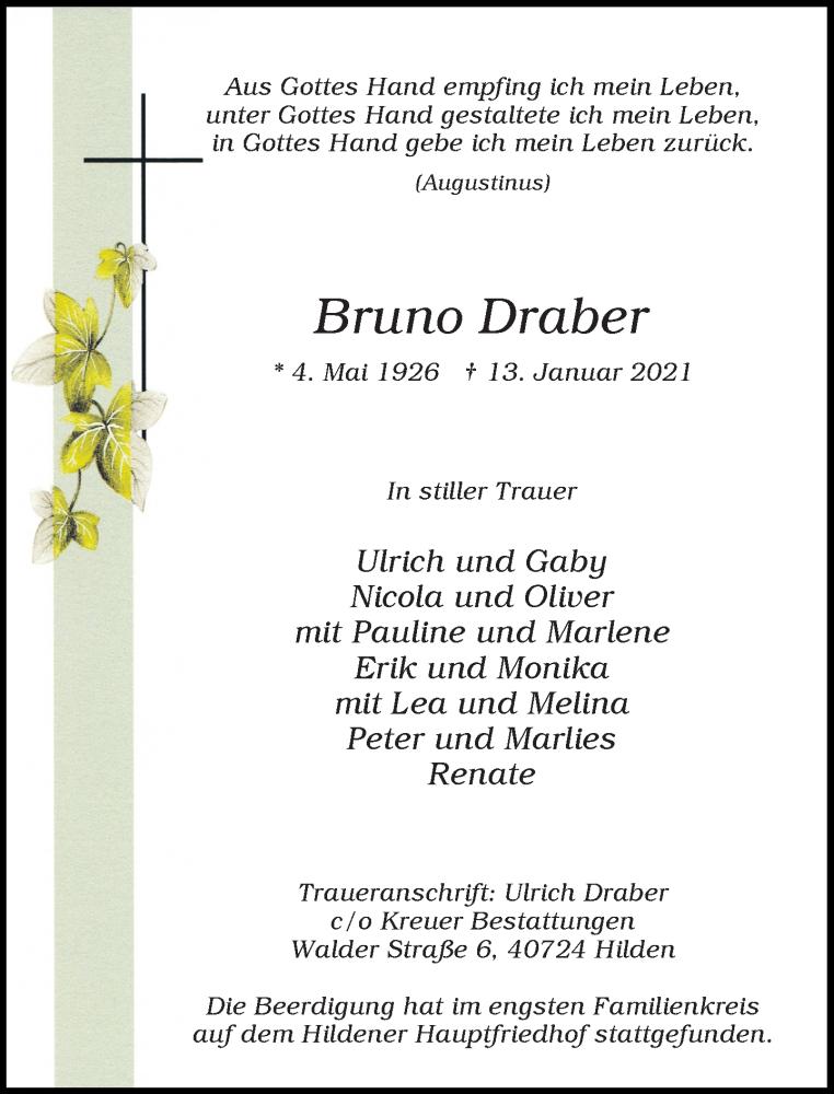 Traueranzeige für Bruno Draber vom 23.01.2021 aus Rheinische Post