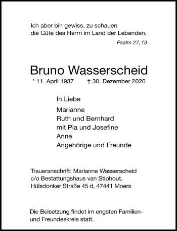 Traueranzeige von Bruno Wasserscheid von Rheinische Post