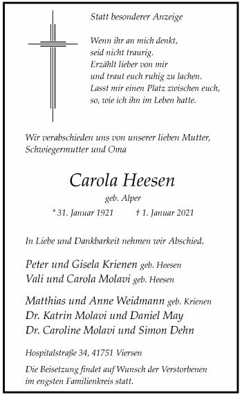 Traueranzeige von Carola Heesen von Rheinische Post