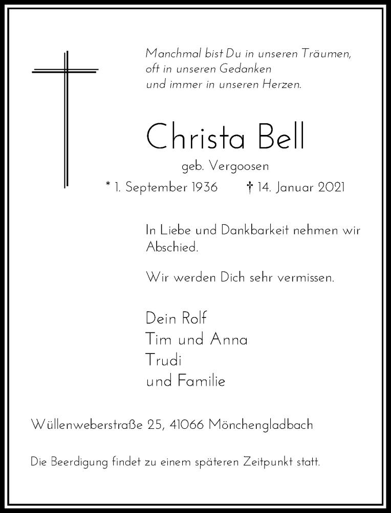 Traueranzeige für Christa Bell vom 23.01.2021 aus Rheinische Post