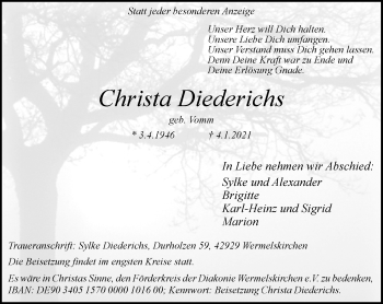 Traueranzeige von Christa Diederichs von Rheinische Post