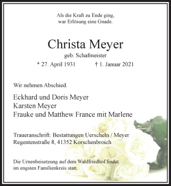 Traueranzeige von Christa Meyer von Rheinische Post