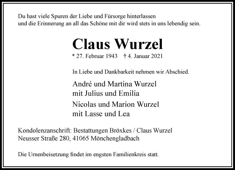 Traueranzeige für Claus Wurzel vom 09.01.2021 aus Rheinische Post