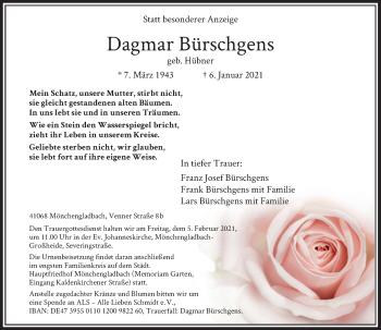 Traueranzeige von Dagmar Bürschgens von Rheinische Post
