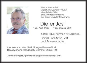 Traueranzeige von Dieter Jost von Rheinische Post