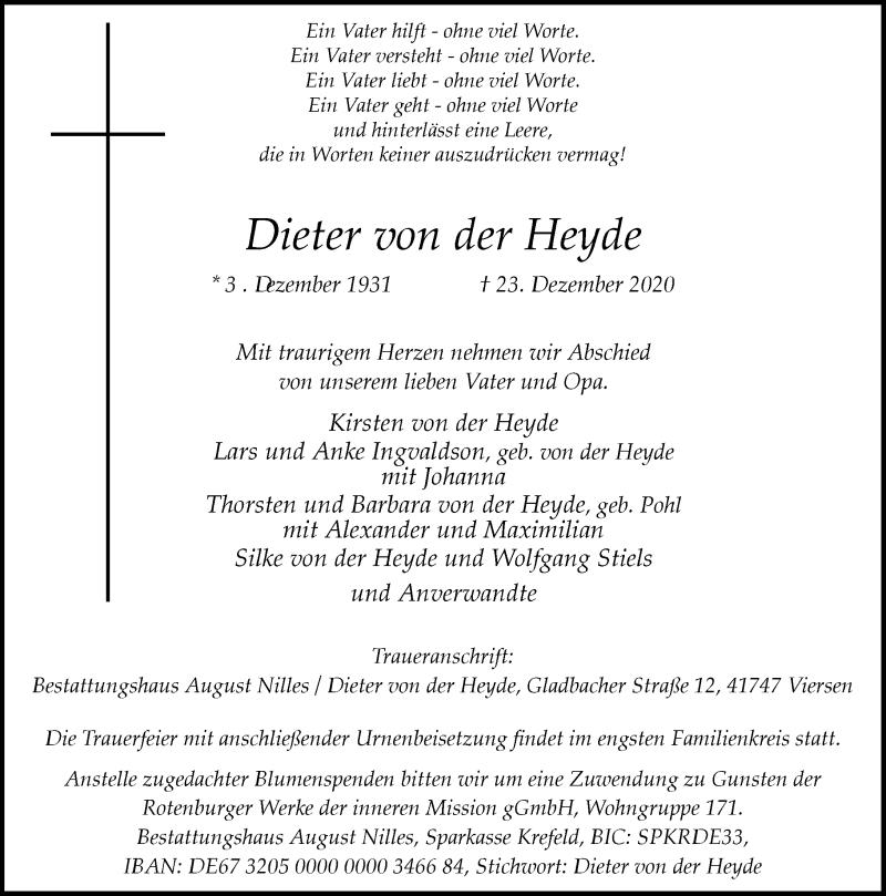 Traueranzeige für Dieter von der Heyde vom 09.01.2021 aus Rheinische Post