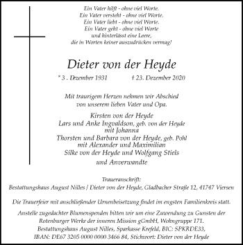 Traueranzeige von Dieter von der Heyde von Rheinische Post