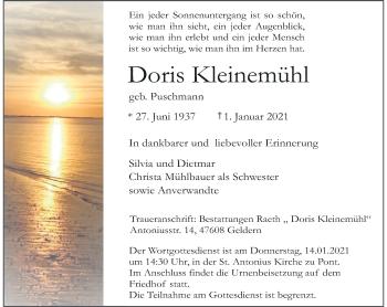 Traueranzeige von Doris Kleinemühl von Rheinische Post