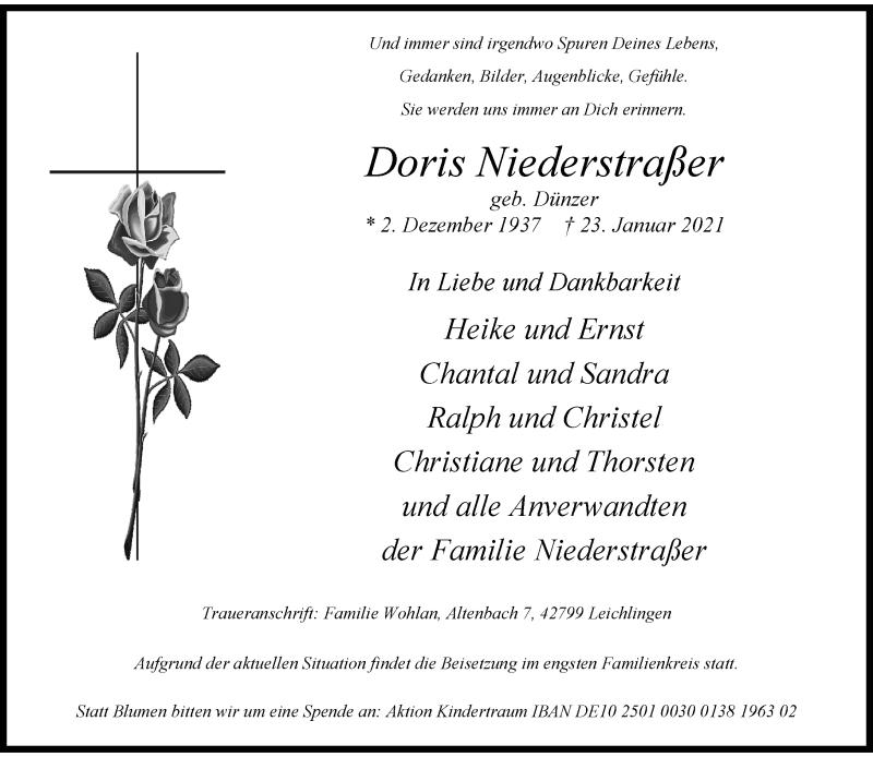 Traueranzeige für Doris Niederstraßer vom 30.01.2021 aus Rheinische Post