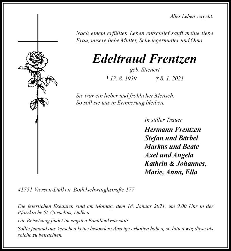 Traueranzeige für Edeltraud Frentzen vom 13.01.2021 aus Rheinische Post