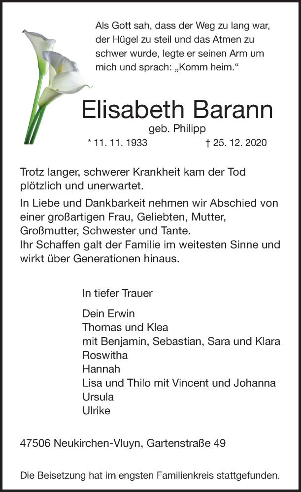Traueranzeige für Elisabeth Barann vom 09.01.2021 aus Rheinische Post