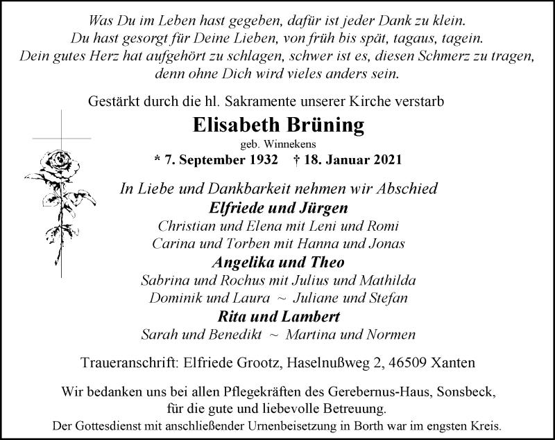 Traueranzeige für Elisabeth Brüning vom 03.02.2021 aus Rheinische Post