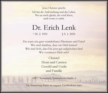 Traueranzeige von Erich Lenk von Rheinische Post