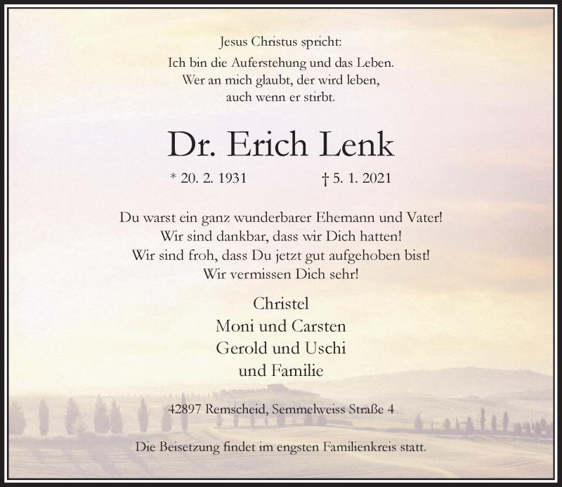 Traueranzeige für Erich Lenk vom 09.01.2021 aus Rheinische Post